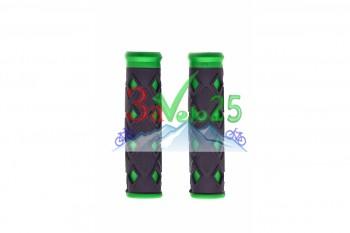 Грипсы HL-G 25, 120мм, пласт./рез., чер./зел.