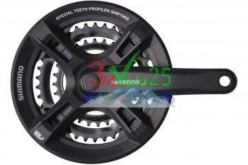Система Shimano FC-M171, 170мм, Кв, 42/34/24, чер. (Tourney)