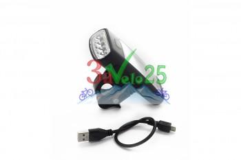 Фонарь передний JY 377 (4 диода), с подзарядкой, микро USB 2